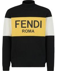 Fendi Colour-block Knit Sweater - Black