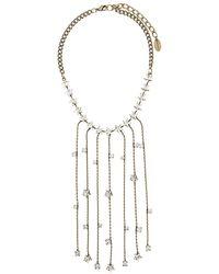 Twin Set Rhinestone-embellished Fringed Necklace - Metallic