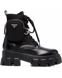 Prada Monilith Lace-up Boots - Black