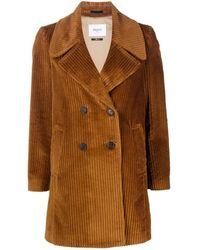 Paltò Corduroy Double-breasted Coat - Brown
