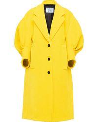 Prada Corduroy Puff-sleeve Coat - Yellow