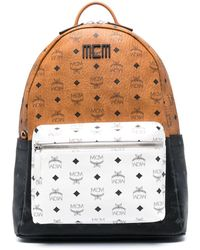 MCM Logo-print Tricolour Backpack - Brown