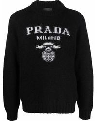 Prada Logo-intarsia Sweater - Black