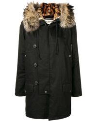 Saint Laurent Fur Trimmed Hooded Parka - Black