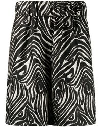 Alberto Biani Zebra-print Silk Shorts - Black