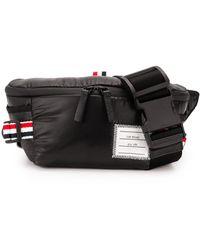 Thom Browne Black Coated 4-bar Bum Bag