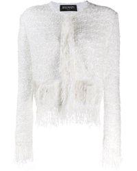 Balmain Tweed Fringed Jacket - White
