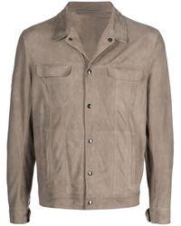 Salvatore Santoro Button-down Leather Shirt Jacket - Brown