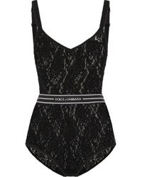 Dolce & Gabbana Floral-lace Logo-waistband Body - Black
