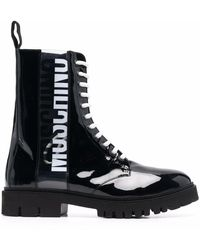 Moschino Logo-print Ankle Boots - Black