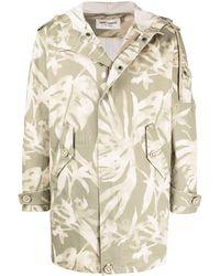 Saint Laurent Leaf Pattern Hooded Parka - Green