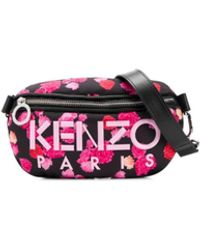KENZO Floral Print Logo Detail Belt Bag - Black
