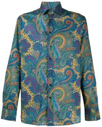 Etro Paisley Print Long-sleeve Shirt - Blue