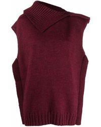 MM6 by Maison Martin Margiela Asymmetric Knit Sweater - Red