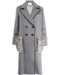 Fendi Fur Pockets Double Breasted Coat - Gray