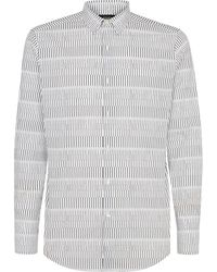 Fendi Micro-print Striped Shirt - White