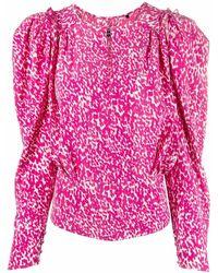 Isabel Marant Zarga Spot-print Blouse - Pink