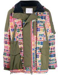 Sacai Embroidered Parka Coat - Green