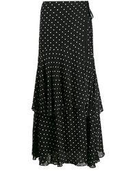 Pinko Polka Dot Print Ruffled Skirt - Black