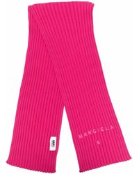 MM6 by Maison Martin Margiela Logo-embroidered Rib-knit Scarf - Pink