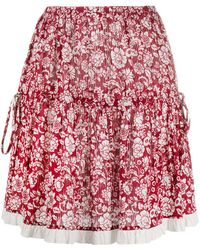 See By Chloé Floral-print Cotton Skirt - Red