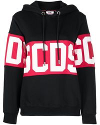 Gcds Logo-print Cotton Hoodie - Black