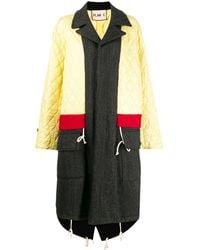 Plan C Panelled Quilted Coat - Yellow