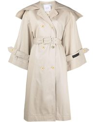 Patou Wide-collar Trench Coat - Natural