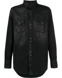 Saint Laurent Coated Western Shirt - Black