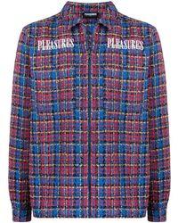 Pleasures Tweed Zip-up Overshirt - Blue
