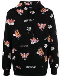 RIPNDIP Cat-butterfly Cartoon Print Hoodie - Black