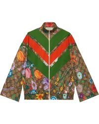Gucci Flora GG Supreme Pattern Track Jacket - Green