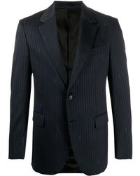Versace Pinstripe Logo Blazer - Black