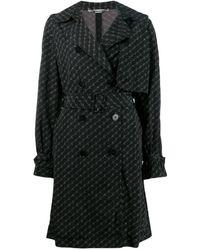 Stella McCartney Logo Print Trench Coat - Black