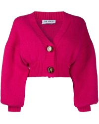 The Attico Balloon-sleeve Cropped Cardigan - Pink