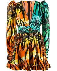 Fausto Puglisi Tropical-print Gigot-sleeved Mini Dress - Orange