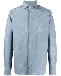 Xacus Floral-embroidered Cotton Shirt - Blue