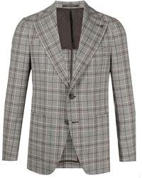 Tagliatore Checked Single-breasted Blazer - Grey