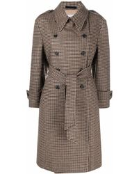 Paltò Houndstooth Trench Coat - Brown