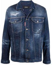 DSquared² Ripped-detailing Denim Jacket - Blue