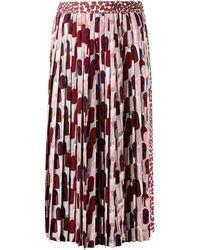 Prada Heart Print Pleated Skirt - Red