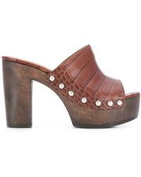 Paris Texas Crocodile Embossed Sandals - Brown