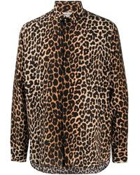 Saint Laurent Leopard Print Silk Shirt - Brown