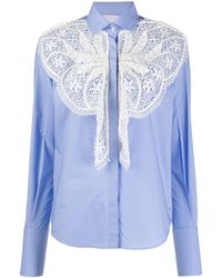 Patou Lace-panelled Shirt - Blue