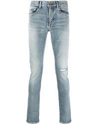 Saint Laurent Distressed-detail Skinny-fit Jeans - Blue