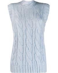 Prada Chunky Cable Knit Vest - Blue