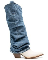 R13 Contrast Ruched Denim Boots - Blue
