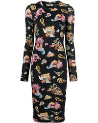 Versace Jeans Couture - Baroque-print Midi Dress - Lyst