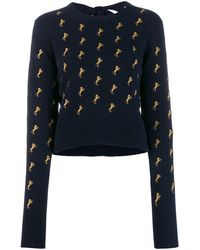 Chloé Embroidered Horses Jumper - Blue