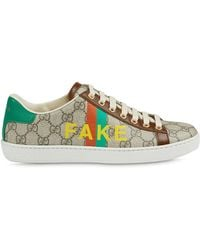 Gucci 'fake/not' Print Ace Sneaker - Natural